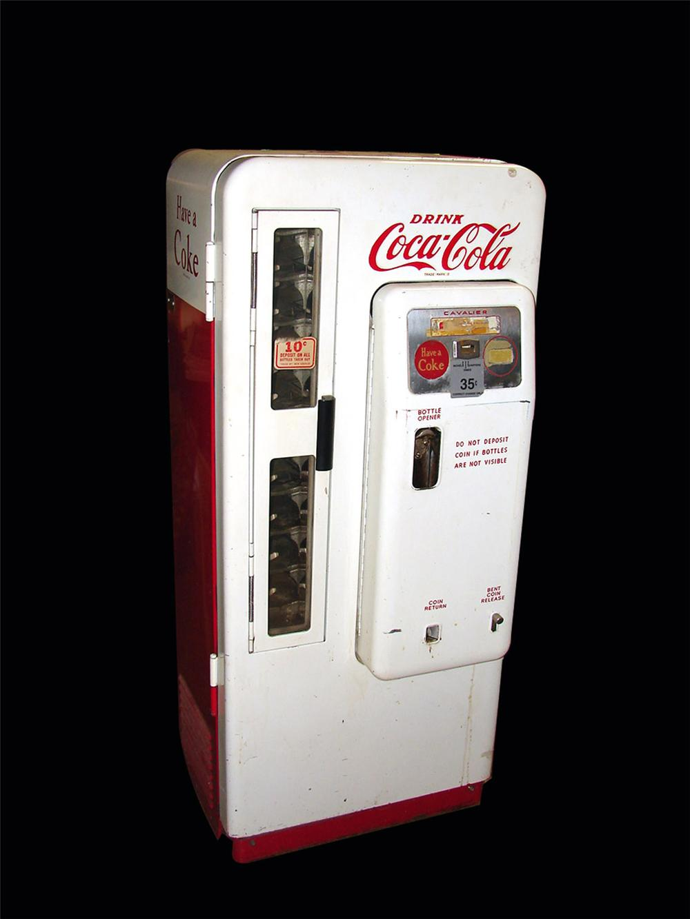 All original 1950s Coca-Cola Cavalier model #72 ten cent coin-operated soda machine. - Front 3/4 - 82459