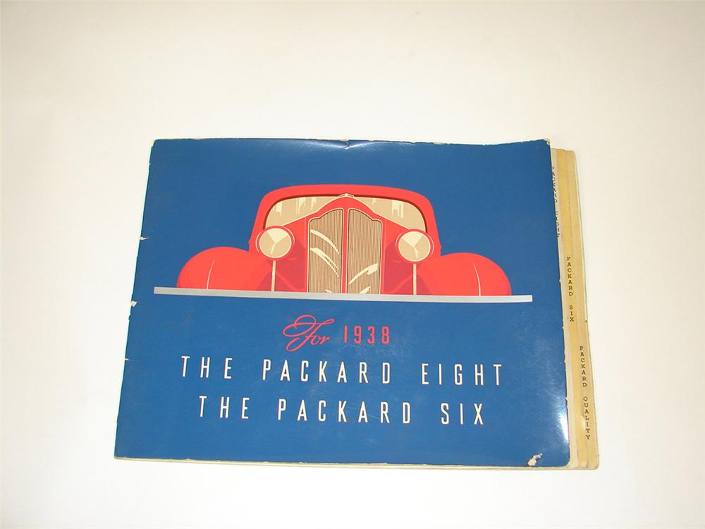 Impressive 1938 Packard Six and Eight over-sized showroom sales color brochure filled with wonderful artistic depictions of ... - Front 3/4 - 82470