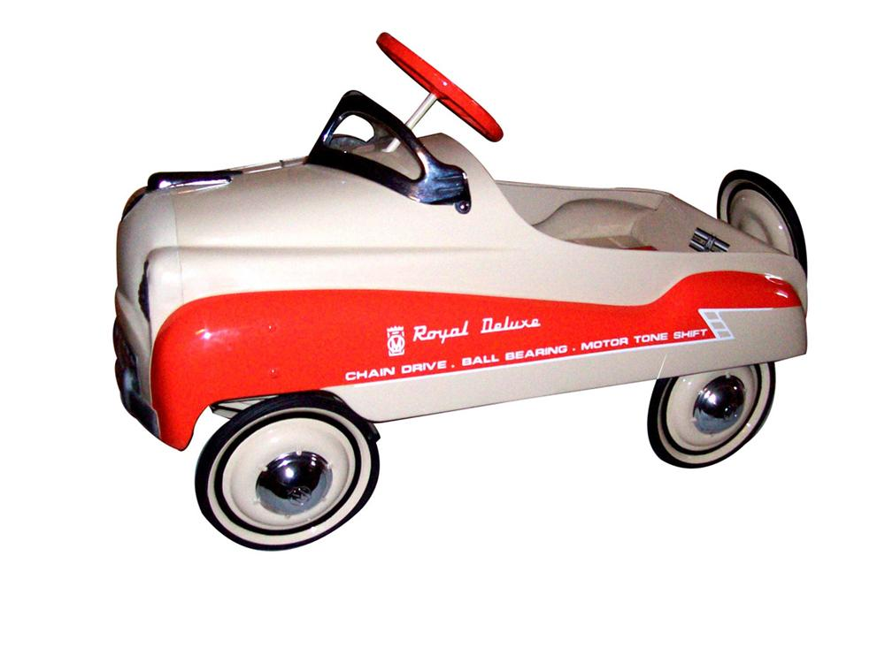 "Wonderful 1955 Royal ""Deluxe"" pedal car by Murray. Expert restoration with great color scheme. Great 50s look with Continent... - Front 3/4 - 82473"
