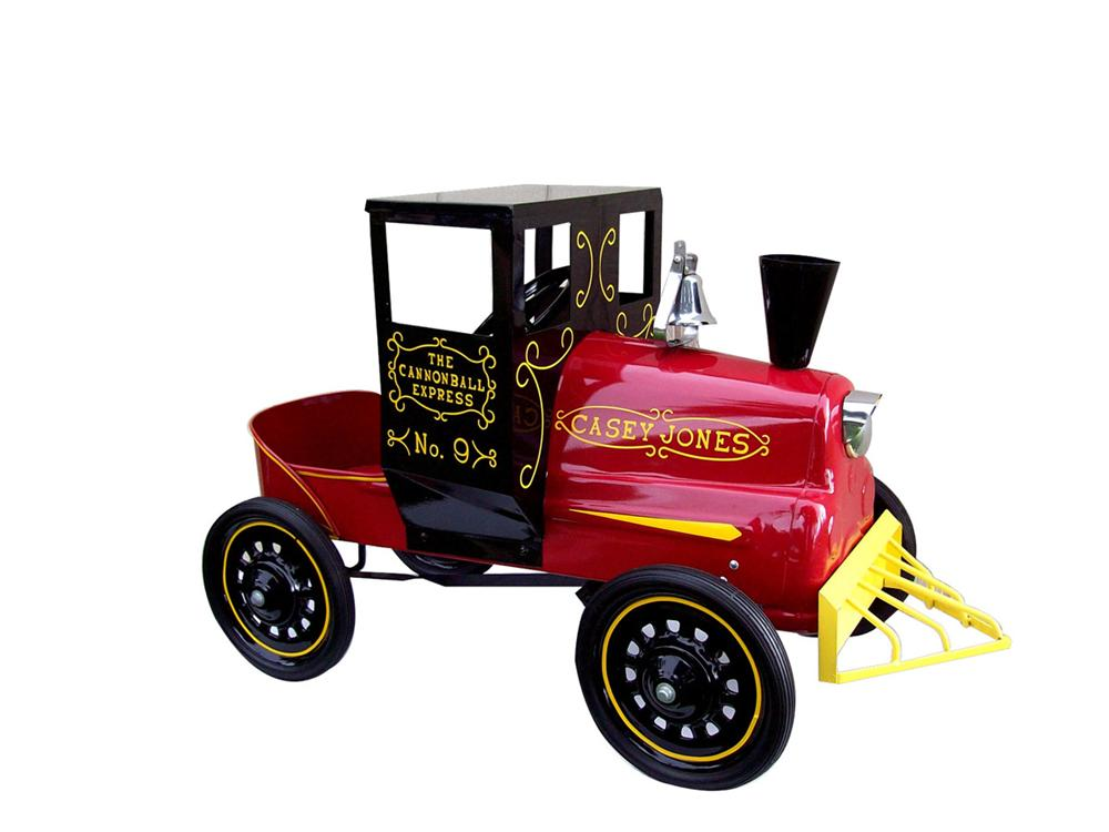 Perfectly restored Casey Jones pedal car train engine by Garton - Beautifully restored rare train pedal car. - Front 3/4 - 82474