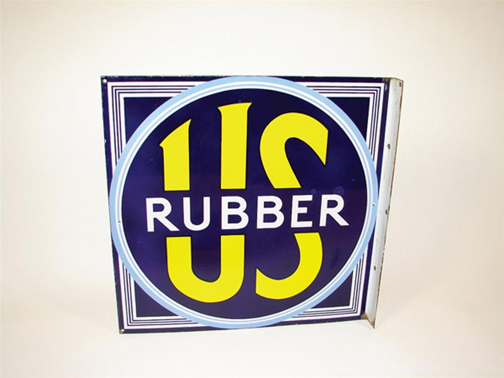Immaculate N.O.S. 1930s U.S. Rubber Tires double-sided porcelain garage flange. - Front 3/4 - 82478