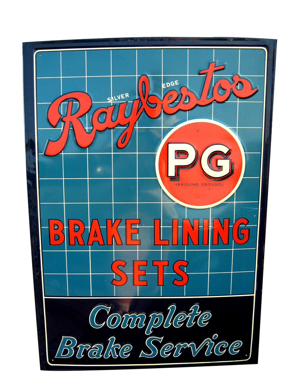 1930s-40s Raybestos brake lining sets single-sided tin garage sign. - Front 3/4 - 82479