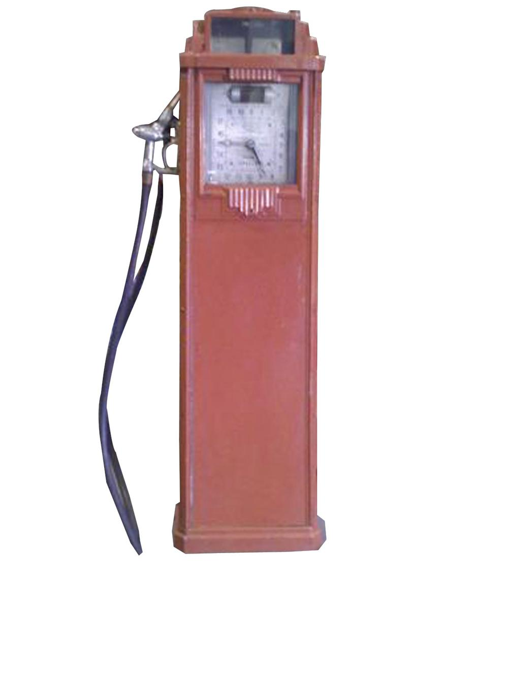 Rare unrestored 1936 Bennett 77 clock face service station gas pump with art deco influence. - Front 3/4 - 82484