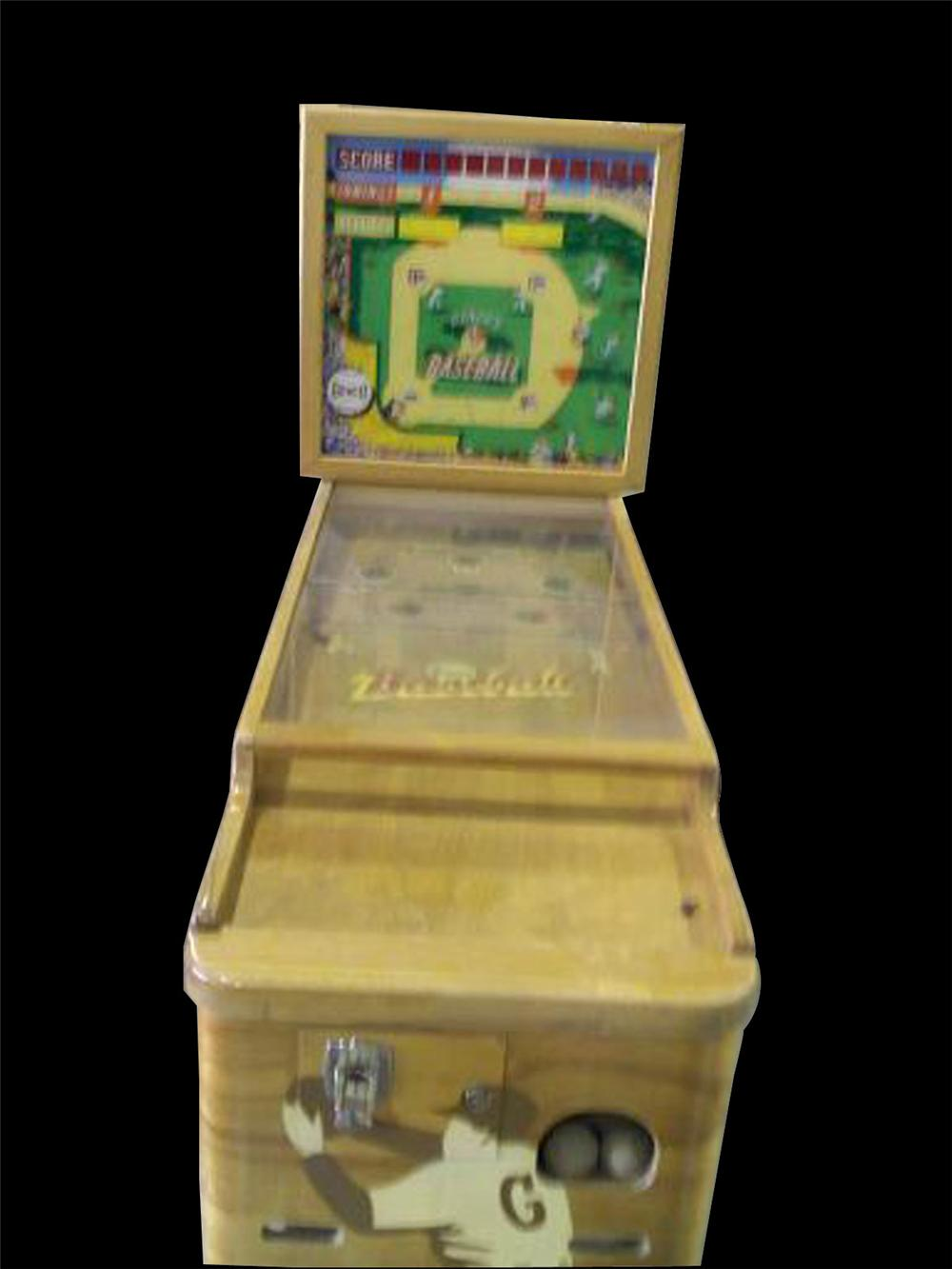 Unbelievable 1940s Genco Baseball coin-operated arcade game. Appears to have had only the lightest of use. - Front 3/4 - 82485