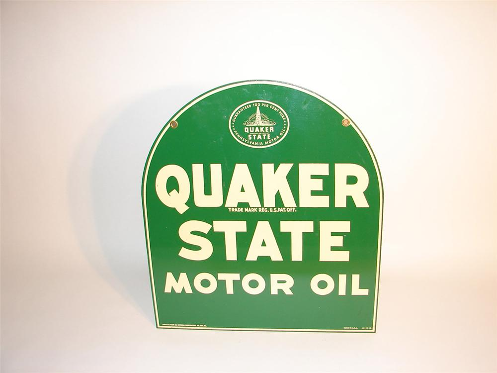 N.O.S. 1945 Quaker State Motor Oil double-sided tin tombstone shaped garage sign. - Front 3/4 - 82512