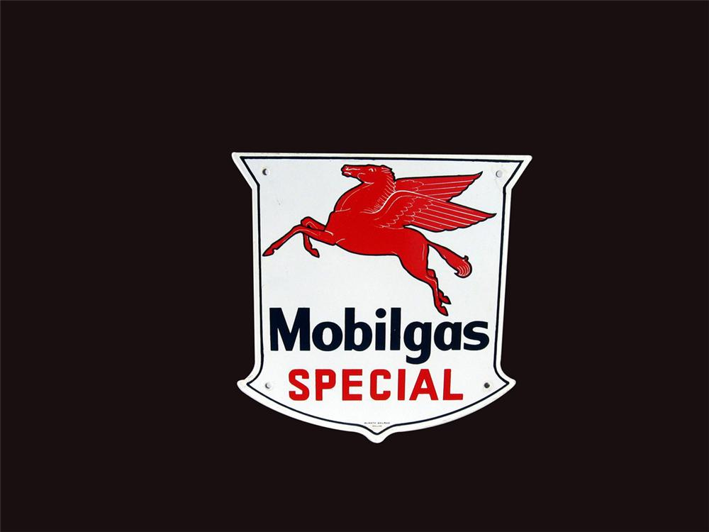 Sharp 1950s-50s Mobilgas Special single-sided porcelain pump plate sign with Pegasus logo. - Front 3/4 - 82514