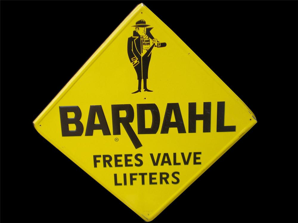 Large Bardahl Engine Additive tin garage sign with embossed lettering. - Front 3/4 - 82515