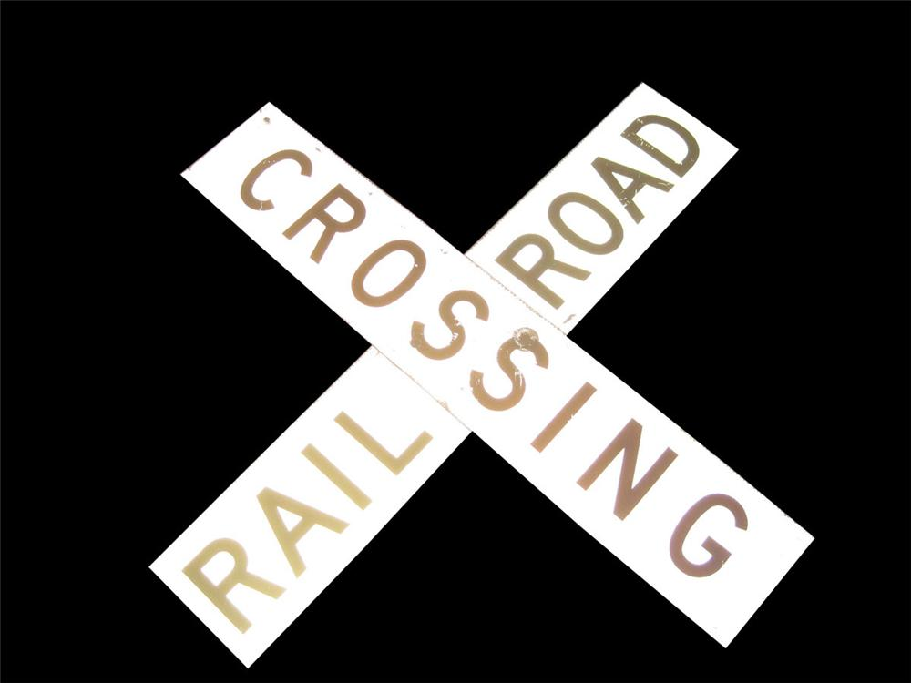 Interesting 1940s-40s Railroad Crossing sign. - Front 3/4 - 82517