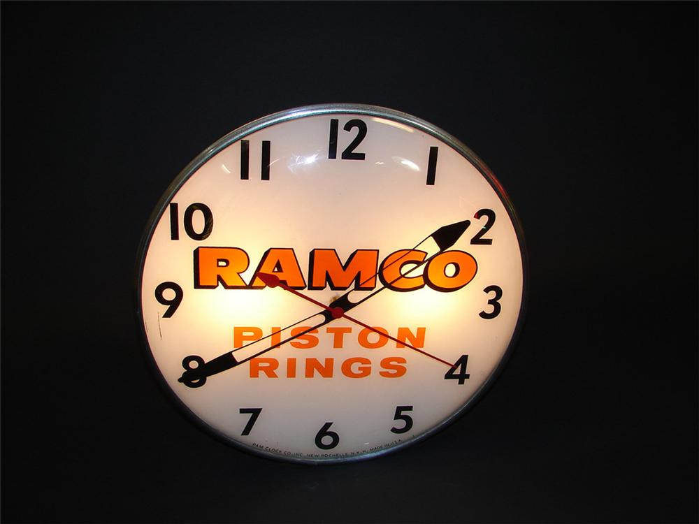 1950s Ramco Piston Rings glass faced light-up station clock. - Front 3/4 - 82522