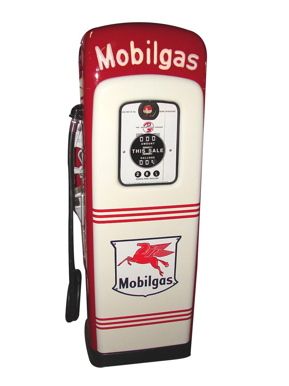 Wonderful 1940s Mobilgas light-up script top M&S model #80 gas pump.  Brilliantly restored. - Front 3/4 - 82536