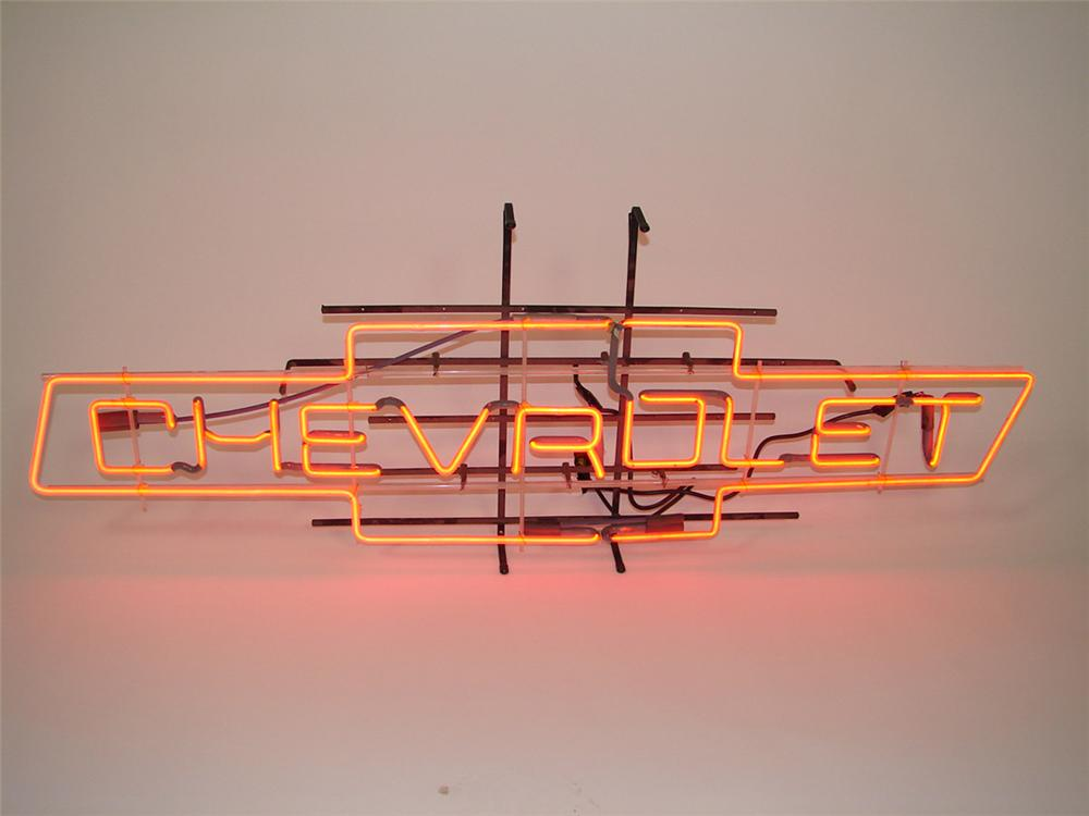 Sharp late 1950s-early 1960s Chevrolet bow-tie dealership window neon sign. - Front 3/4 - 82537