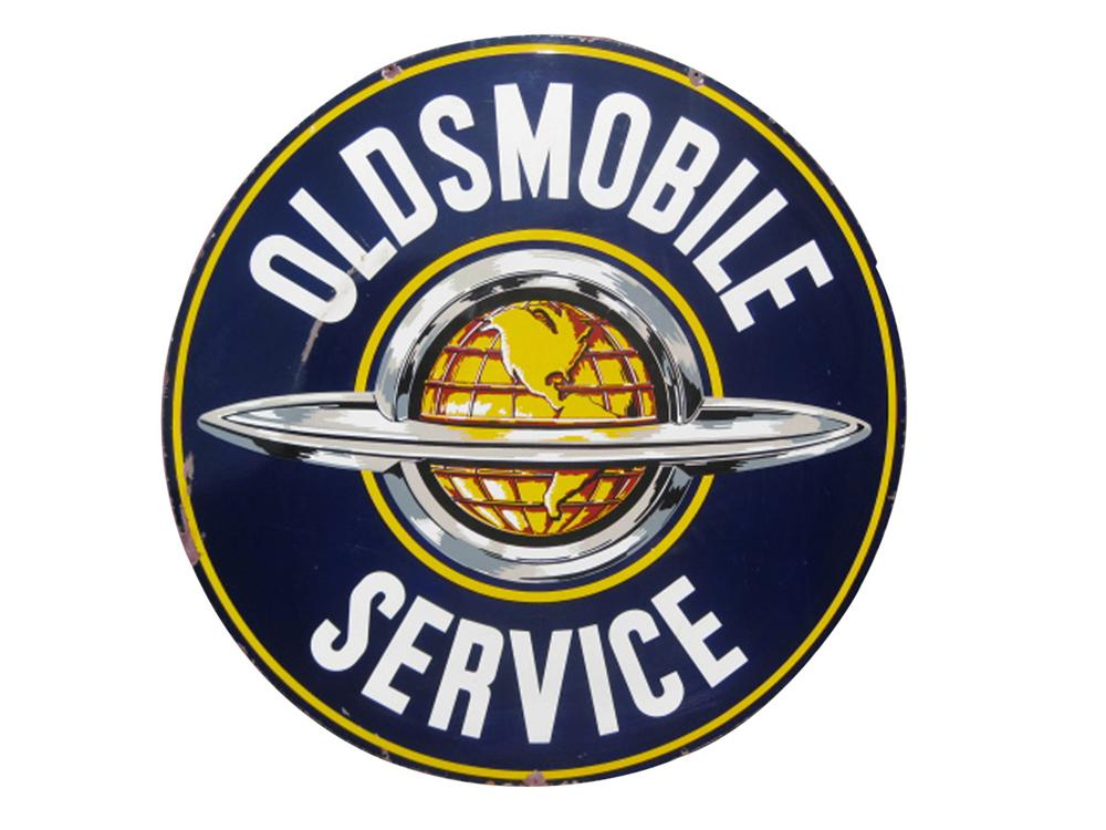 Splendid 1940s Oldsmobile Service double-sided porcelain dealership sign with globe logo. - Front 3/4 - 82543