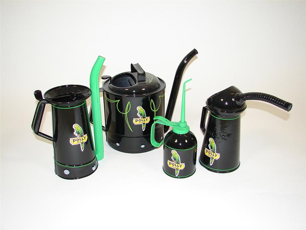 Lot of four 1920s-30s Polly Filling Station restored service department cans. - Front 3/4 - 82545