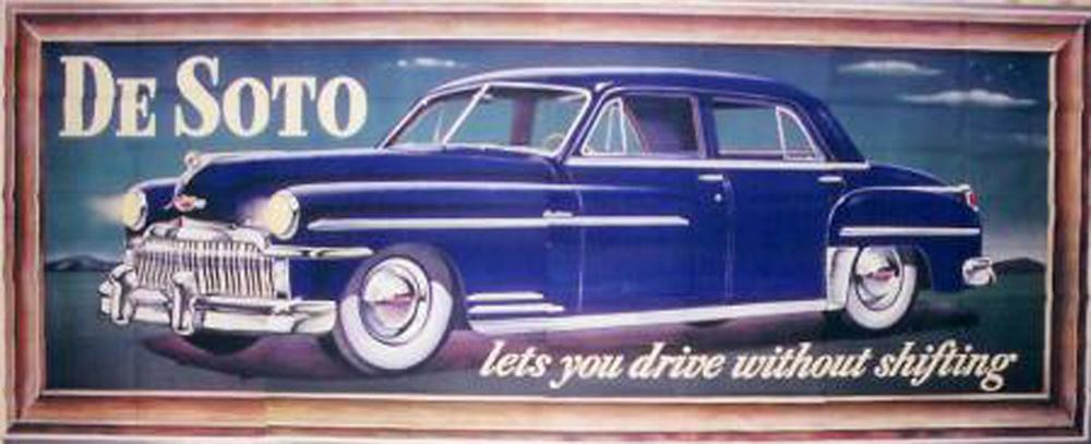"""Killer N.O.S 1949 Desoto Automobiles Billboard sign. Great for private or public display. Size 235""""x 95"""" - Front 3/4 - 82551"""
