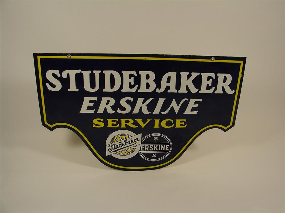 Incredible 1927-1930 Studebaker-Erskine double-sided porcelain dealership sign. - Front 3/4 - 82556