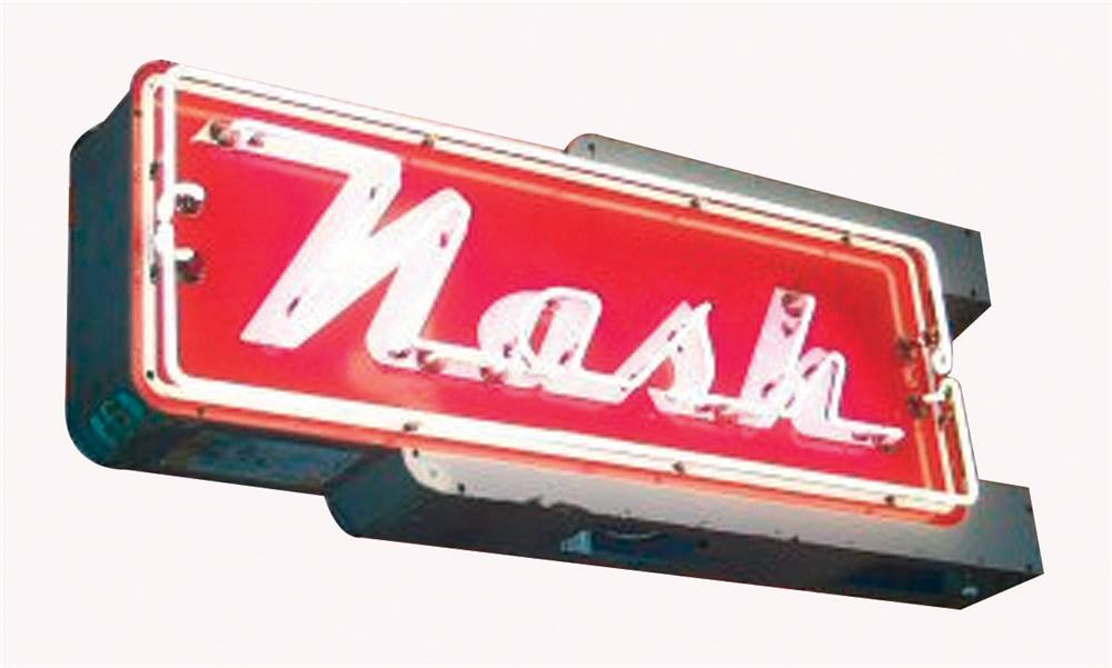 Marvelous 1950s Nash Automobiles double-sided porcelain dealership sign with neon.  Lights perfectly! - Front 3/4 - 82566