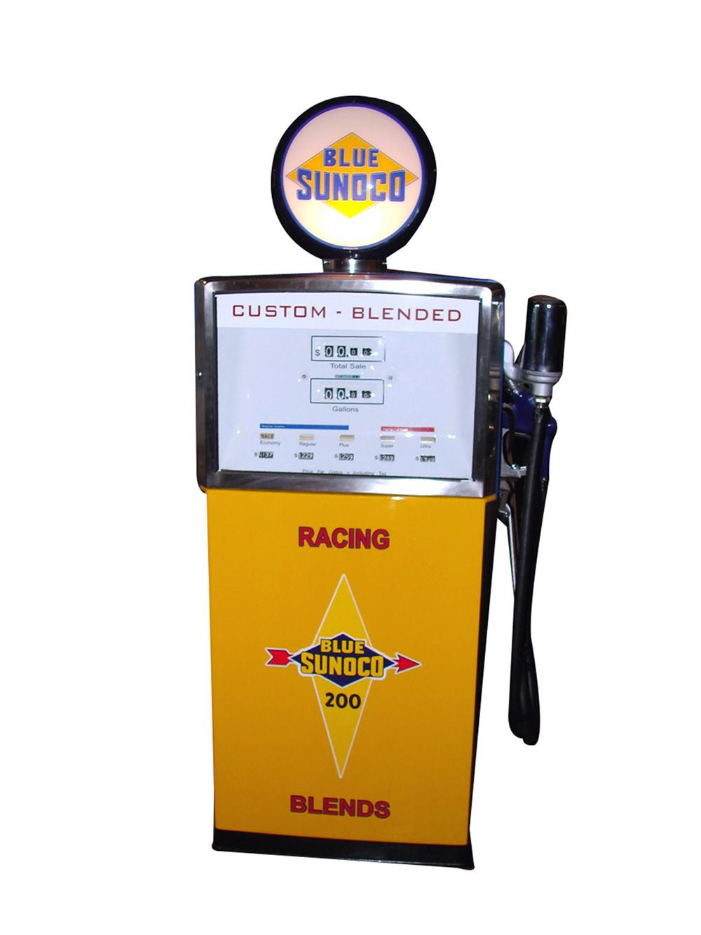 """Highly desirable 1958 Sunoco """"Custom - Blended"""" Wayne model #511 restored service station gas pump. - Front 3/4 - 82570"""
