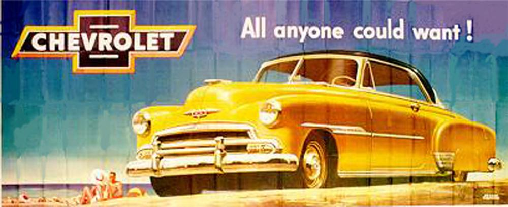 Fabulous never used 1951 Chevrolet Automobiles Billboard sign. - Front 3/4 - 82572