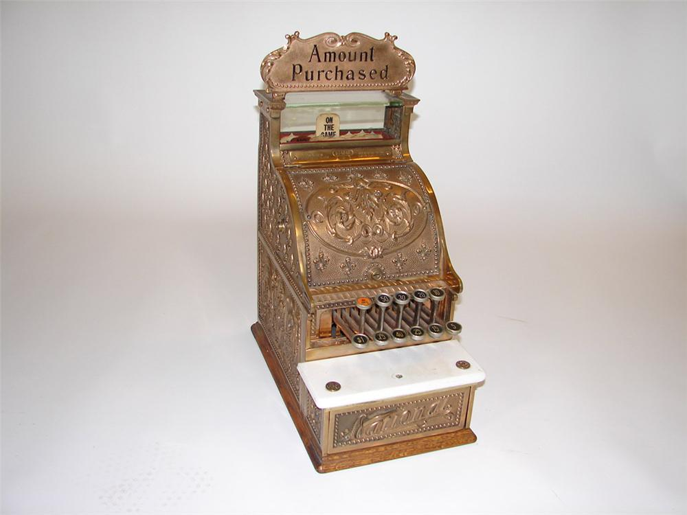 Phenomenal turn of the century National Brass Cash Register model #5. - Front 3/4 - 82586
