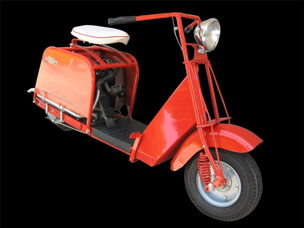 Magnificently restored early 1950s Allstate (Cushman) with 3 HP motor. Cushman scooters were rebadged as Allstate and sold b... - Front 3/4 - 82597