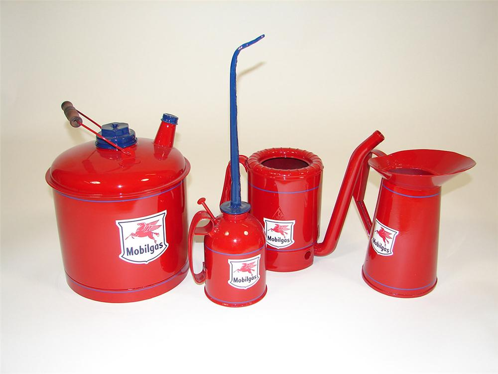 Lot of four restored vintage Mobil Oil service department oil/gas cans. - Front 3/4 - 82598