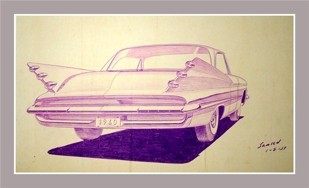 From the Chrysler Design Studios - A 1957 Concept drawing for the rear end of the 1960 Desoto. - Front 3/4 - 82657