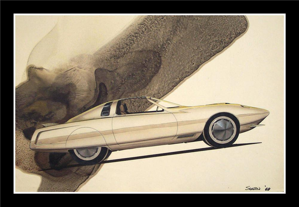"""From the Chrysler Design Studios - A 1969 Concept drawing for a 1972 Plymouth """"Cuda"""". - Front 3/4 - 82658"""