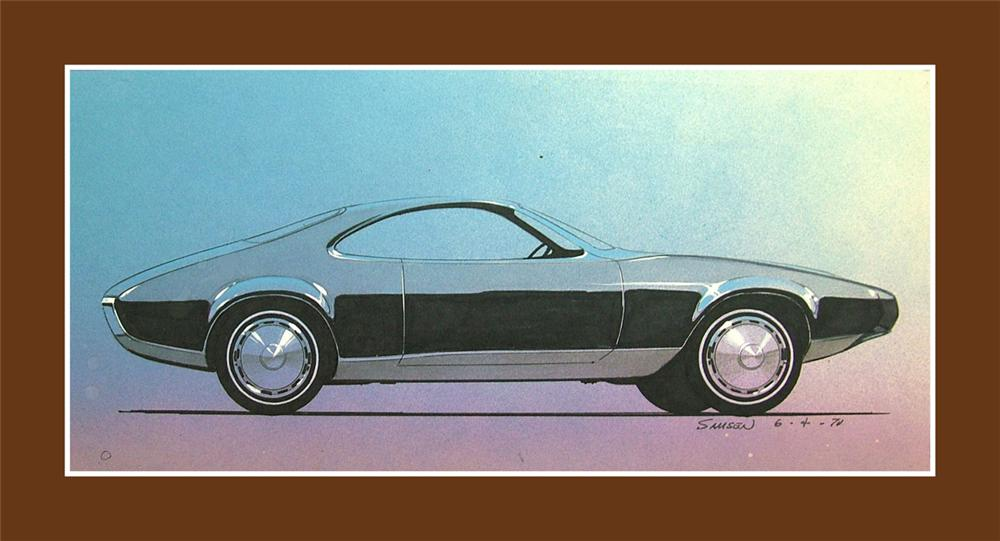 From the Chrysler Design Studios - A 1970 concept drawing for a 1973 Plymouth Duster. - Front 3/4 - 84975