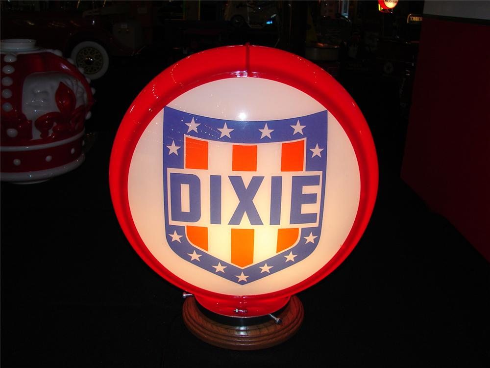 Sharp 1950s Dixie Gasoline plastic bodied glass faced gas pump globe. - Front 3/4 - 85536