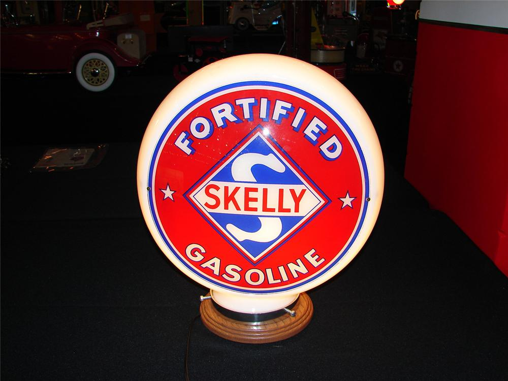 Spectacular  1940s Skelly Fortified Gasoline wide-bodied milk glass gas pump globe.  Condition: 9.25+ - Front 3/4 - 85541