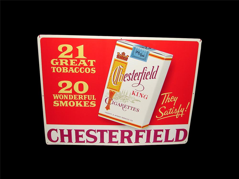 N.O.S. Chesterfield Cigarettes tin embossed general store sign.  Condition: 9.25+ - Front 3/4 - 85542