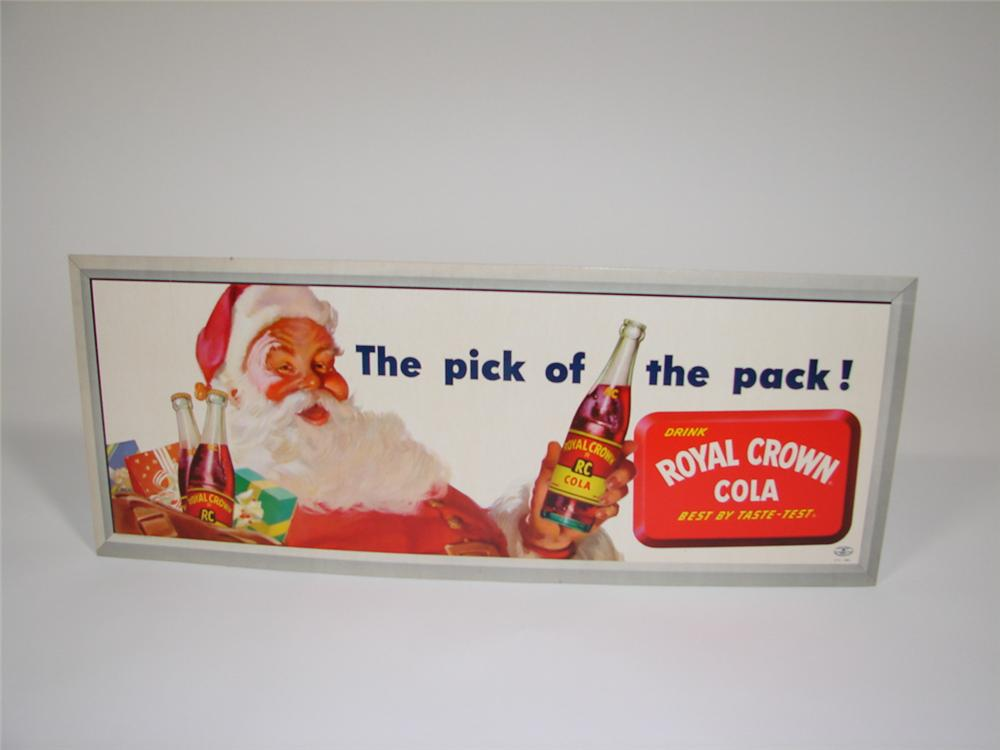"""N.O.S. 1954 Royal Crown Cola """"Pick of the Pack"""" general store cardboard sign with Santa motif.  Condition: 9.25+ - Front 3/4 - 85548"""