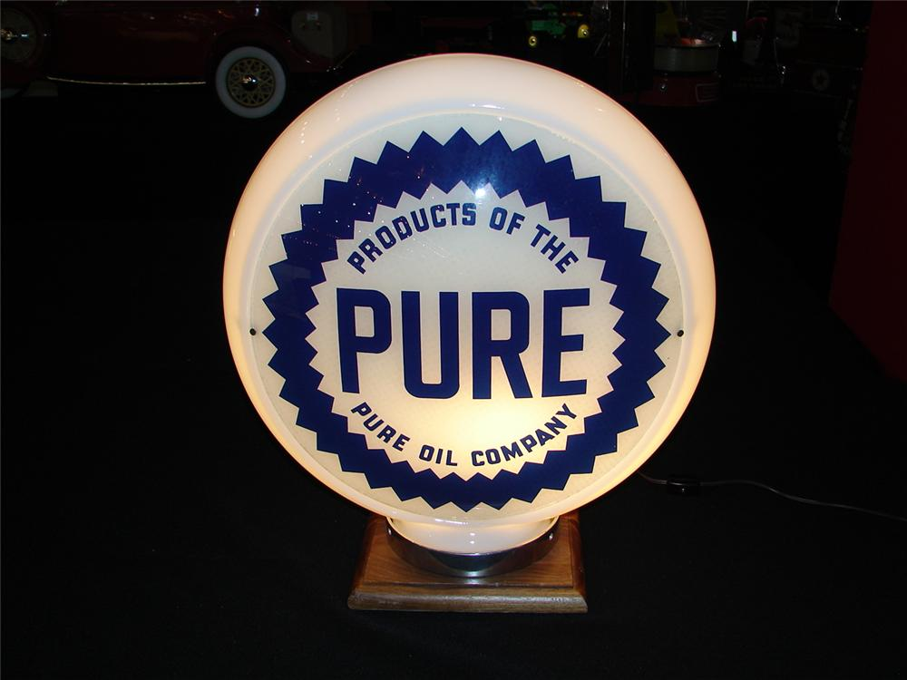 Sharp 1940s-50s Pure Oil narrow bodied milk glass gas pump globe. - Front 3/4 - 86114