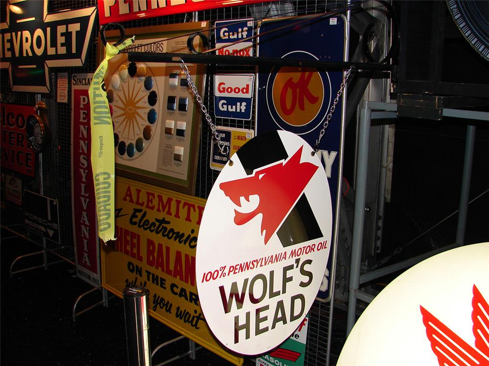 N.O.S. Wolfs Head Motor Oil double-sided tin garage sign with hanging bracket. - Front 3/4 - 86133