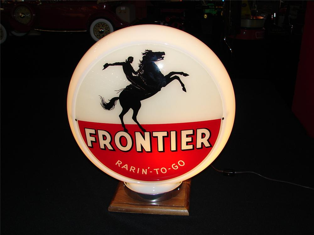 "Killer 1940s-50s Frontier ""Rarin-to-Go"" Gasoline narrow bodied milk glass gas pump globe. - Front 3/4 - 86637"