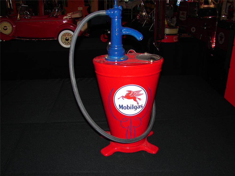 Extraordinary 1930s Mobil Service Station restored five gallon hand pump station greaser. - Front 3/4 - 88598