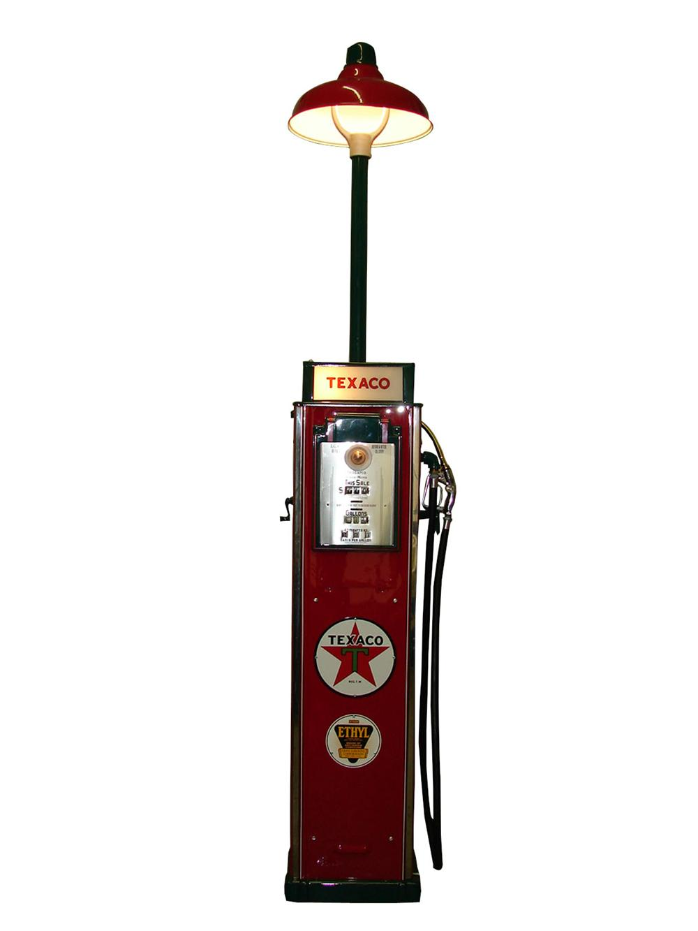 Extraordinary 1936 Texaco Gilbarco Model #36 service station gas pump with station lighter unit. - Front 3/4 - 89239