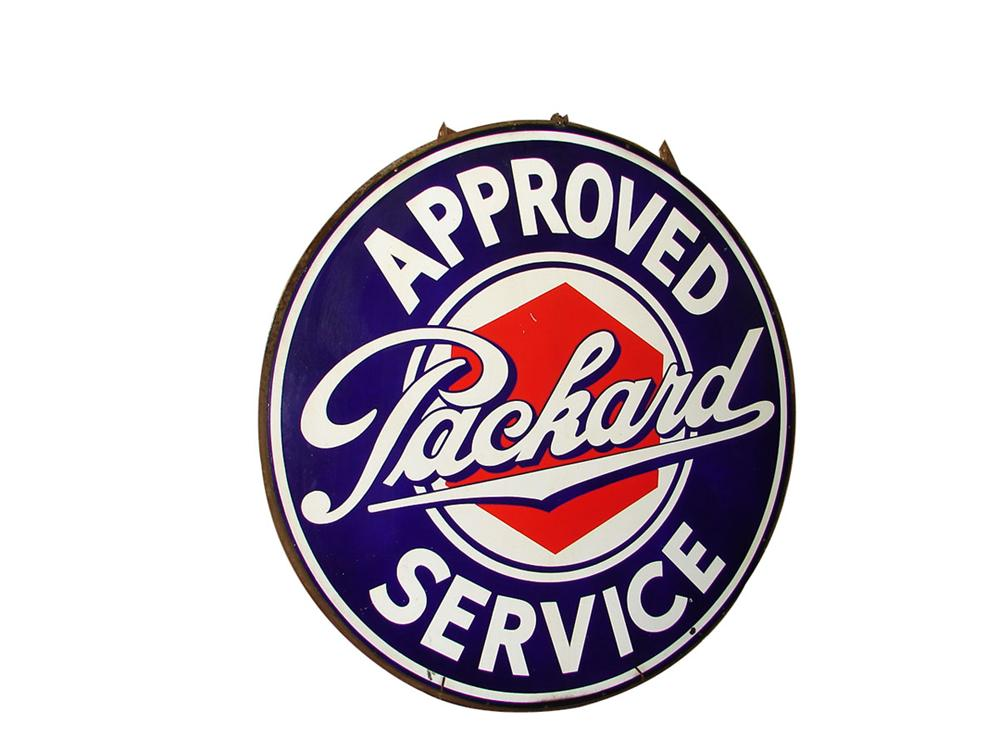 Museum quality 1930s Packard Automobiles double-sided porcelain dealership sign. - Front 3/4 - 89241