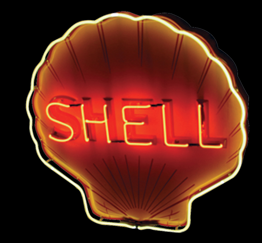 "Outstanding N.O.S. 1937 Shell Oil single-sided porcelain neon ""Clam Shaped"" service station sign. - Front 3/4 - 89243"