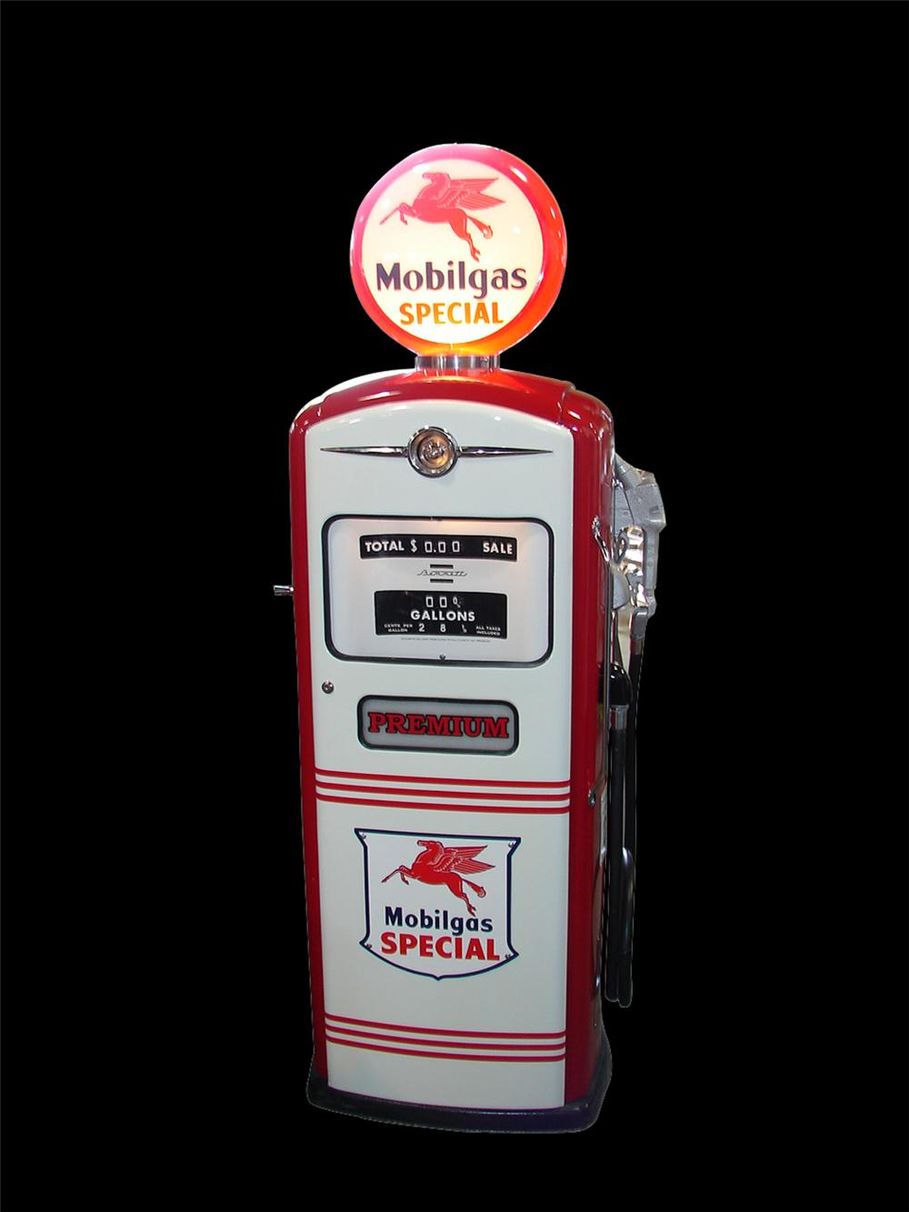 Spectacular 1950s Mobil model #515 restored Mobil service station gas pump. - Front 3/4 - 89249