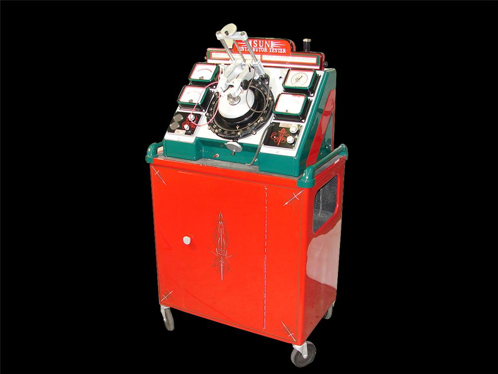 Impressively restored 1940s-50s Sun Distributor Tester restored in Texaco colors. - Front 3/4 - 89252