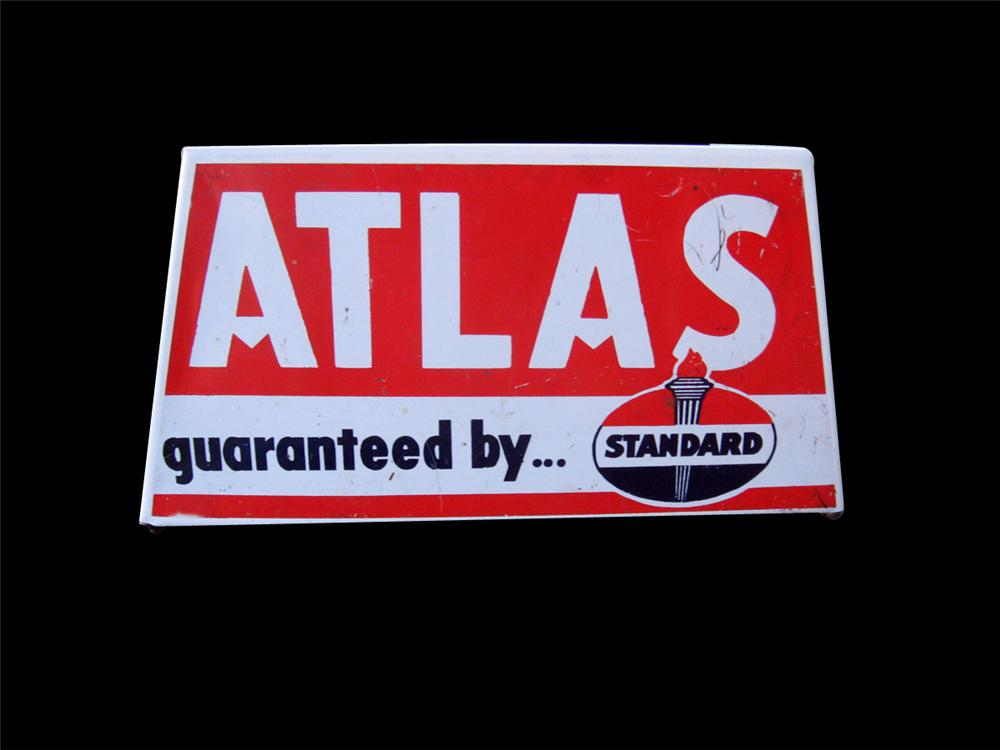 """Late 1950s-60s Standard Oil """"Atlas Tires"""" metal service station tire display stand. - Front 3/4 - 89260"""