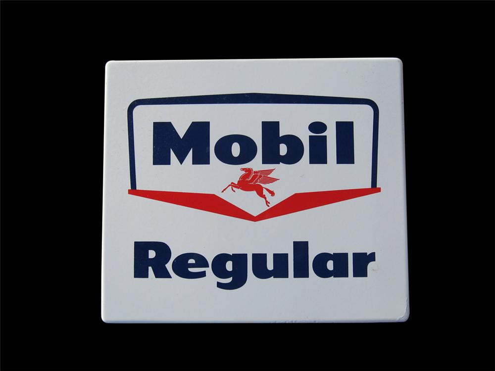 Late 1950s-early 60s Mobil Regular porcelain pump plate sign. - Front 3/4 - 89264