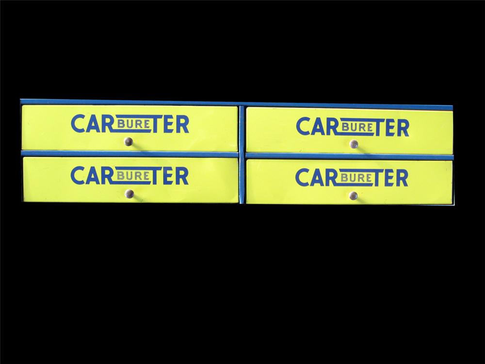 Very nice 1960s Carter Carburetor 4-drawer tin cabinet. - Front 3/4 - 89265