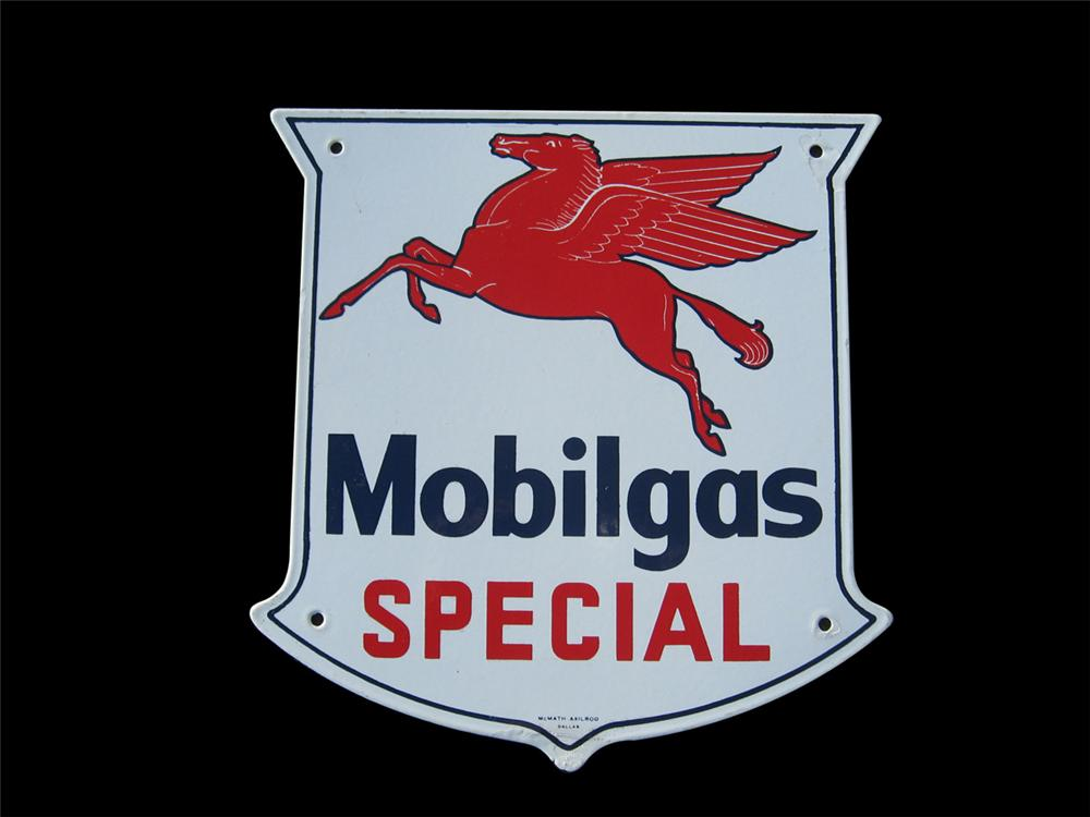 1940s-50s Mobilgas shield shaped porcelain pump palte sign with Pegasus logo. Some touch-up on edges. - Front 3/4 - 89272