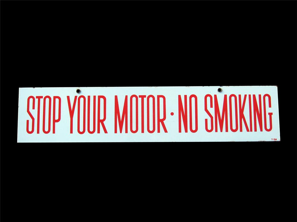 1956 Stop Your Motor double-sided porcelain service station fuel island sign. - Front 3/4 - 89273