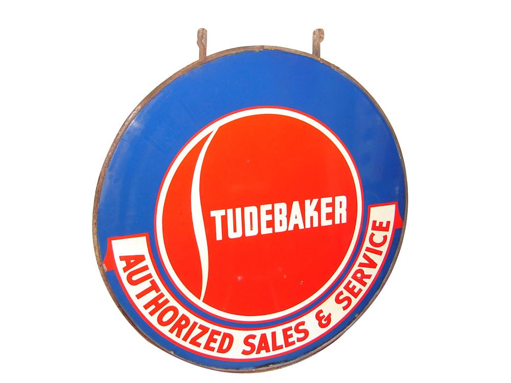 Impressive 1950s Studebaker Authorized Sales and Service double-sided porcelain dealership sign. - Front 3/4 - 89344