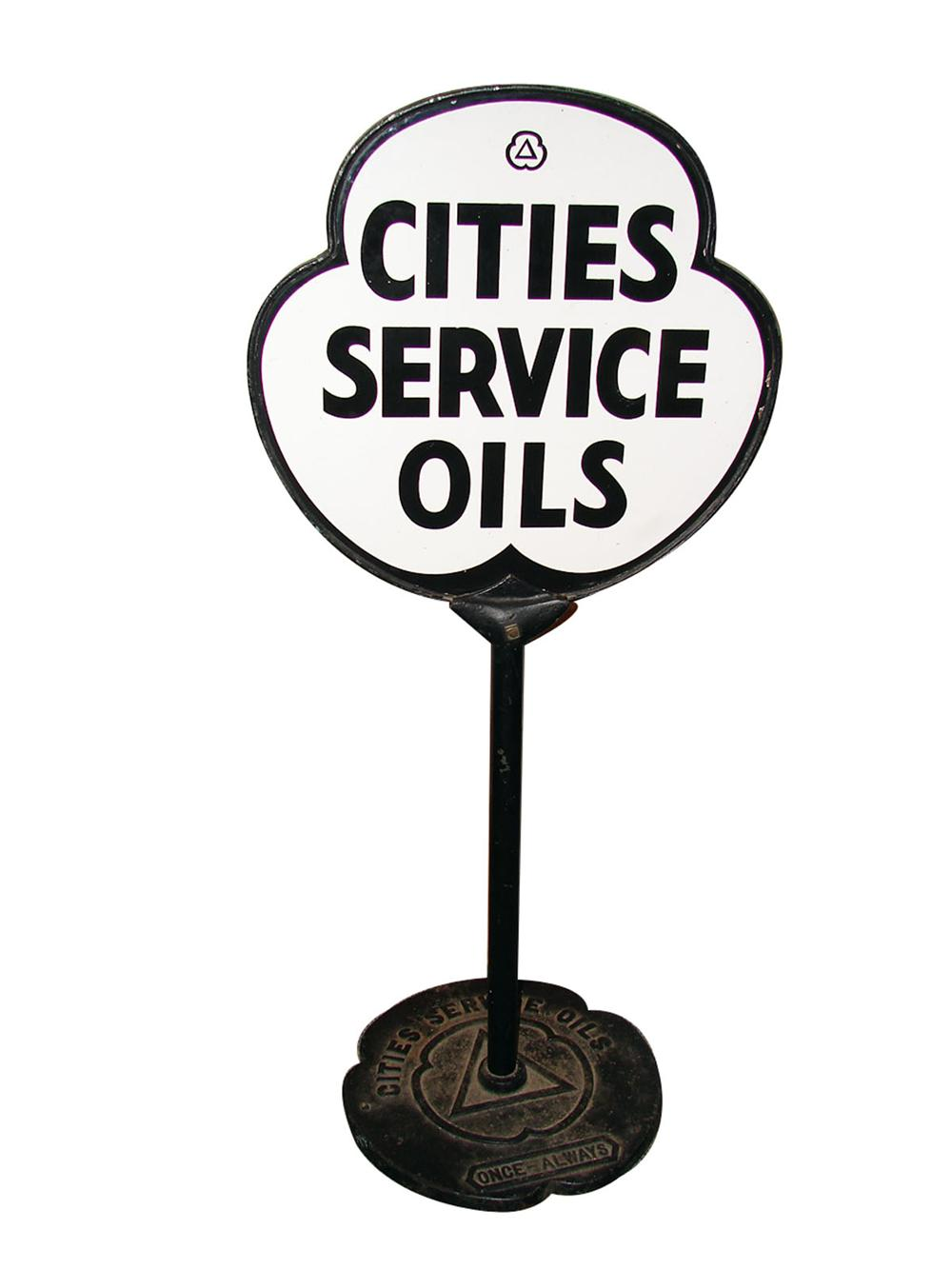 Extremely rare 1930s Cities Service double-sided clover leaf-shaped porcelain curb sign with detailed base. - Front 3/4 - 89346
