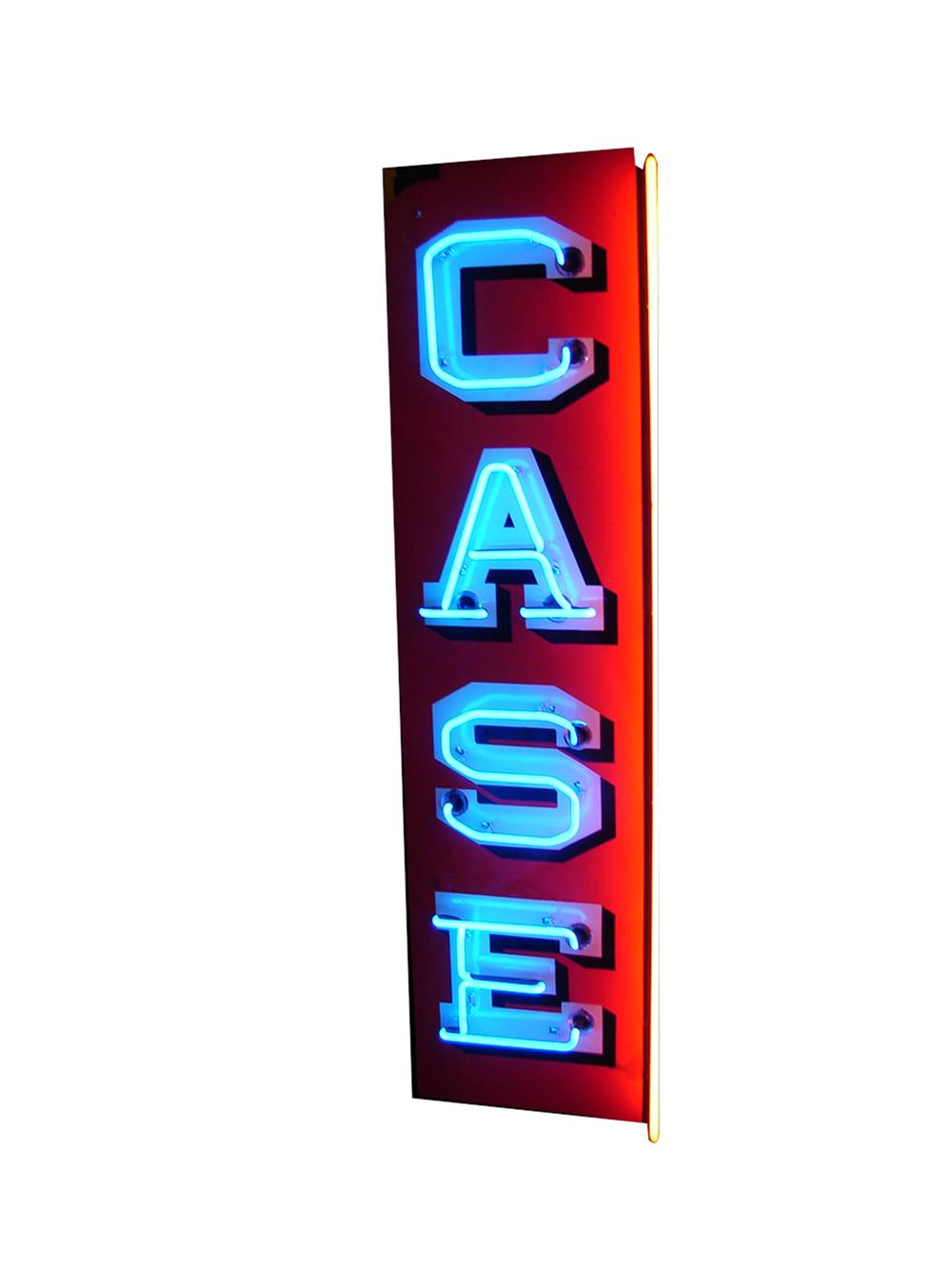 Magnificent 1930s-40s Case Implements single-sided porcelain neon dealership sign. Face is very clean. - Front 3/4 - 89350