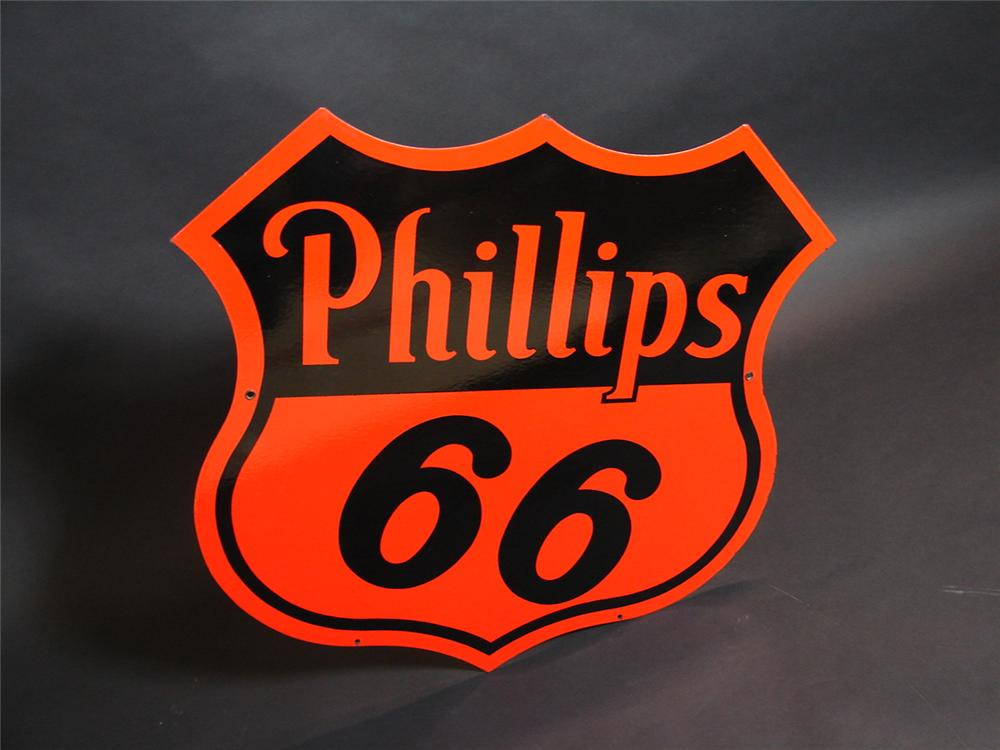N.O.S. 1940s Phillips 66 double-sided porcelain service station sign. Clean! Clean! - Front 3/4 - 89352